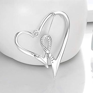 Italina Broche Femme Pin de AAA Zircone Cubique Mode Bijoux pour Femme Double Coeur en Forme Plaqu/é Rhodium//Or//Or Rosa Le Cadeau de La Saint-Valentin
