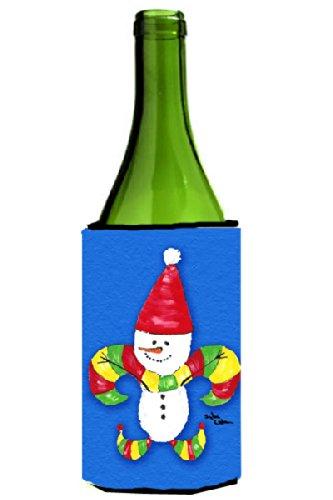 Snowman Bottle Hugger - Christmas Snowman Fleur de lis Wine Bottle Beverage Insulator Beverage Insulator Hugger