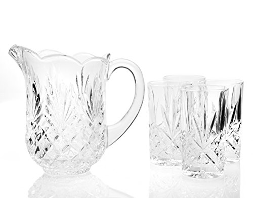 Crystal Jug - Elegant Crystal Pitcher Drinkware Set with 4 Crystal highball Tumblers, Beautiful Jug with handle and Spout for Chilled Beverage Homemade Juice, Iced Tea or Water