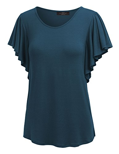 (Made By Johnny MBJ Womens Round Neck Short Ruffle Sleeve T Shirt XL Teal)