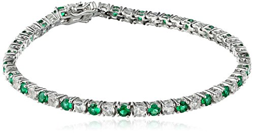 Created Emerald and White topaz Tennis Bracelet in Sterling Silver (3mm)