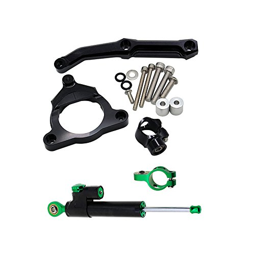 FXCNC Racing Motorcycle Steering Damper Mounting with Bracket Kit For Kawasaki Z800 2013 2014 2015 Black & Green (Damper Racing)