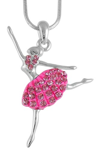 Hot Pink Crystal Jumping Ballerina Ballet Charm Pendant Necklace for Girls, Teens and Women