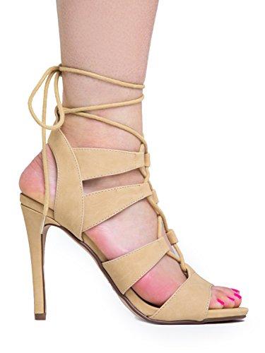 Delizioso Allacciatura Alla Caviglia Cravatta Open Toe Con Tacco A Spillo Sandalo In Nabuk Beige