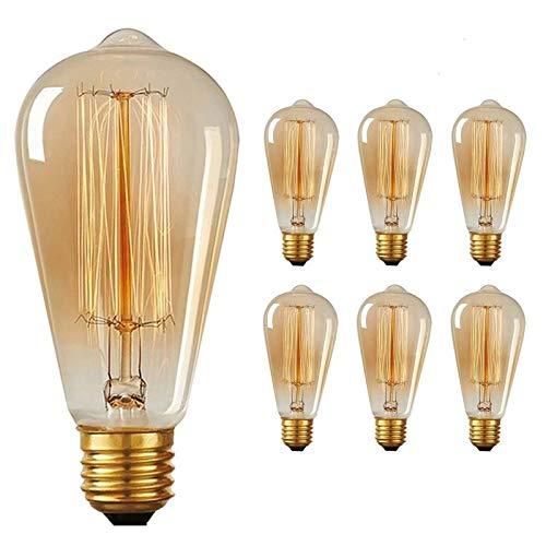 Paquete de 6 bombillas de luz Edison vintage, base regulable ...