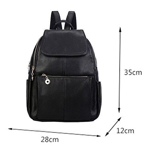 For Girls Bag Sturdy Outdoors School Satchel Leisure Backpack TSRHFGT Women Casual Leather Bag Travel Black Purse qxXvMpHPw