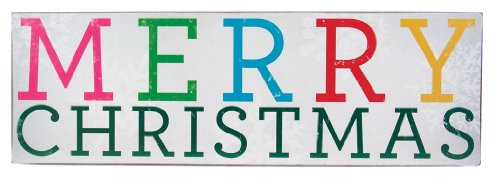 Merry Christmas Plaque - About Face Designs Wooden Wall Décor Plaque, 3.75 by 11.75-Inch, Merry Christmas