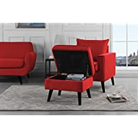 Mid-Century Brush Microfiber Modern Living Room Large Accent Chair with Footrest / Storage Ottoman (Red)