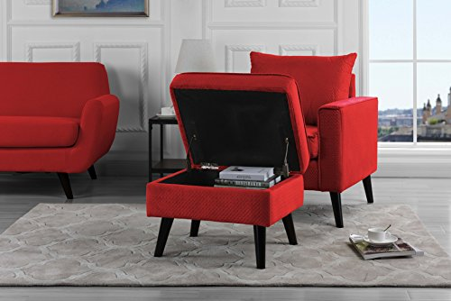 Mid-Century Brush Microfiber Modern Living Room Large Accent Chair with Footrest/Storage Ottoman (Red) ()