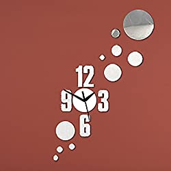 DIY Wall Clock Made of Acrylic Material, Numbers, Looks Like Mirror, Modern Design, for Home Living Room Bedroom Kitchen Baby Child Novelty Luxury Crystal Wall Silent Watch Extra Large, New, Silver