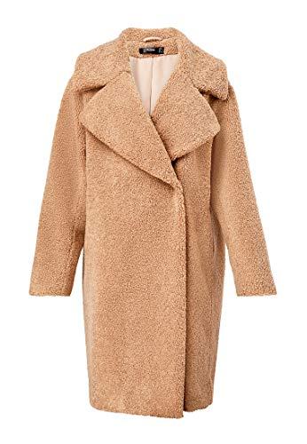 Hallhuber Teddy Coat Made of Fake Fur Camel