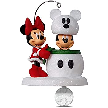 hallmark keepsake 2017 disney mickey and minnie snowmouse surprise christmas ornament - Hallmark Christmas Decorations 2017