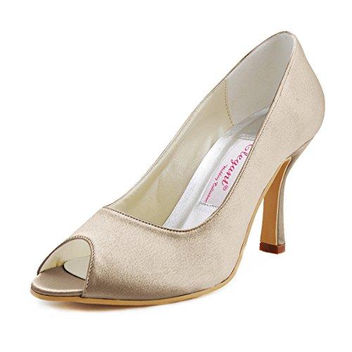 ElegantPark EP11017 Mujer Peep Toe Baile Tacón de Aguja Satén Boda Zapatillas Zapatos de Fiesta Champ¨¢n