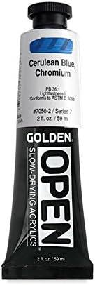 Golden OPEN Acrylic Color 2 oz Tube Cerulean Blue, Chromium