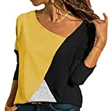 S.Charma Women's Color Block Blouse Summer Short Sleeve Casual Tee Shirts Tops