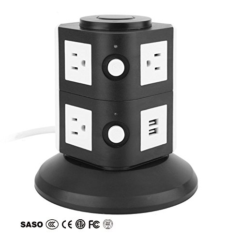 Ledsniper Power Strip Smart 7 Outlet with 2-USB Surge Protection Power Socket 4000W 110-250V Worldwide Voltage Power Strip with 6.5 Feet Cord Suitable for Home / Office (Black) (6-Black)