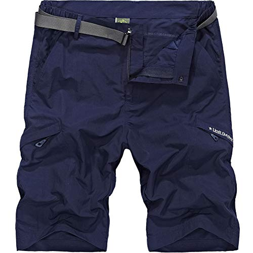 Bay Boca (XinDao Men's Outdoor Hiking Shorts Summer Super Lightweight Quick Dry Belted Cargo Shorts with Multi Pockets Navy 32/Asia XL)