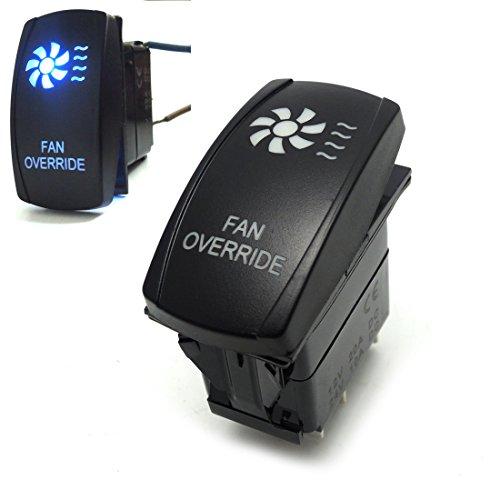 Fan Override Rocker Switch Blue LED Light 20A 12V for UTV Polaris Ranger 900 800 RZR4 1000 900