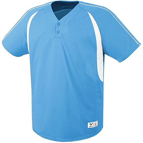 (High Five Impact Two-Button Jersey-Youth,Columbia Blue/White,Large)