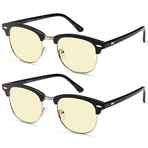 GAMMA RAY 909 2 Pairs of Computer Reading Glasses with Amber Tinted Lenses in Vintage Style Frames - 1.75x - Computer Fashionable Glasses