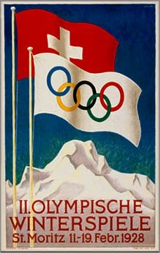 Vintage Ski World St. Moritz, Switzerland 1928 II Winter Olympic Games Official Poster, Image Size 13 x 18 inches