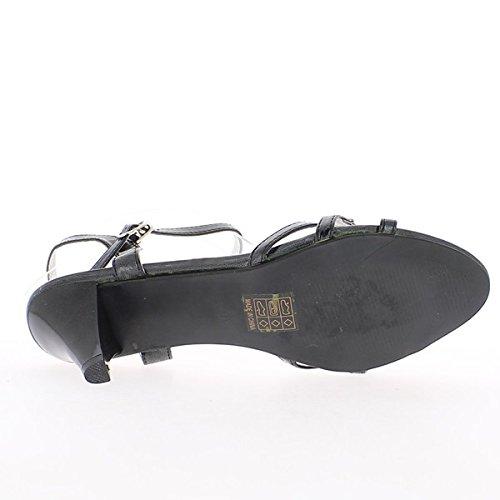 Sandalias talla rhinestone negro con tacón de 7,5 cm