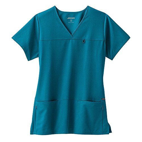 Zippered Uniform - Classic Fit Collection by Jockey Women's 6 Pocket Solid Scrub Top XXXX-Large Caribbean