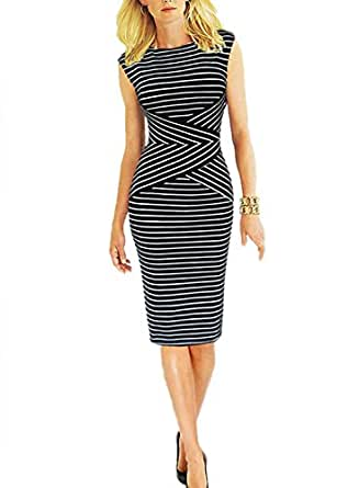 Viwenni Women's Summer Striped Sleeveless Wear to Work Casual Party Pencil Dress, Small