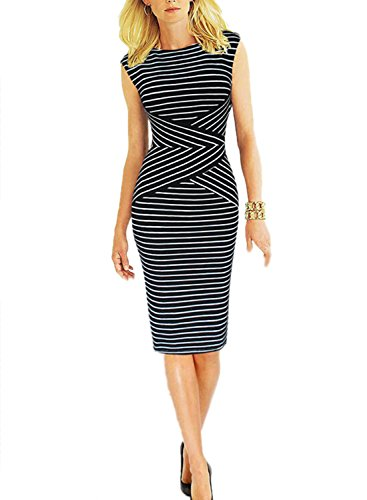 Viwenni Women's Summer Striped Sleeveless Wear to Work Casual Party Pencil Dress, XXL by Viwenni (Image #3)