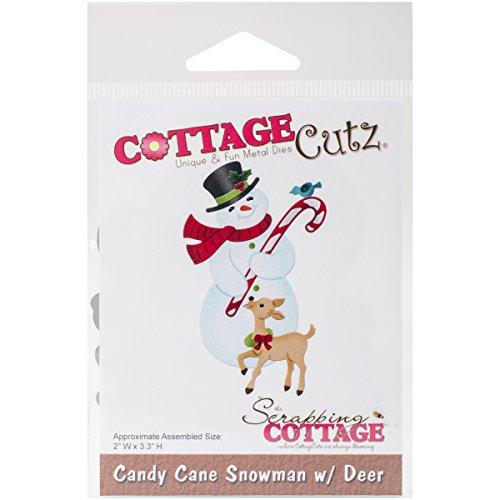 CottageCutz Die-Candy Cane Snowman W/Deer, - Cane Die Candy