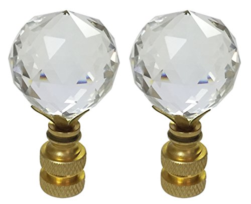 Royal Designs CCF2505L-PB-2 Large Faceted Diamond Cut Clear K9 Crystal Finial for Lamp Shade with Polished Brass Base, Set of 2, 2 Piece ()