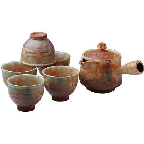 Hagi Yaki Autumn Leaves 3 5inch Set Of 5 Japanese Teacups Brown Ceramic