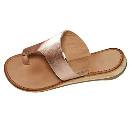 Platform Sandals for Women- 2019 New Comfort Flip Flops Wedge Shoes Flats Beach Casual Slippers (Rose Gold -5, ()