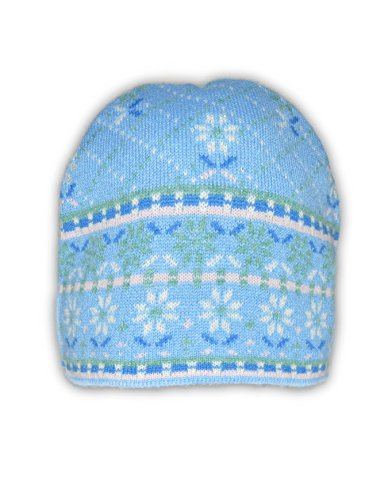 Invisible World 100% Cashmere Jacquard Knit Beanie Cap Flower Box Light Blue