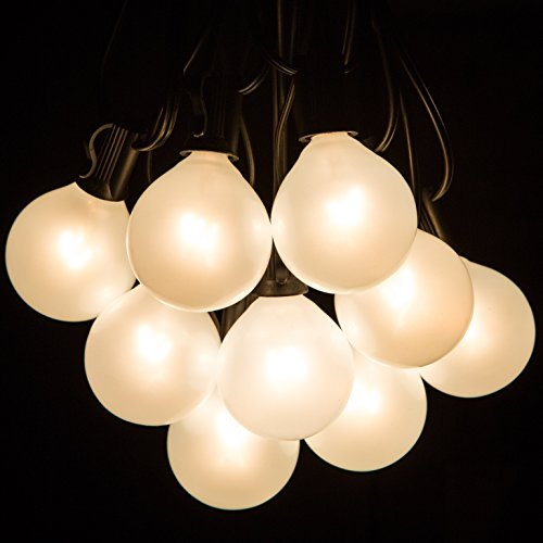 White Pearl Outdoor Patio Globe String Lights (100 Foot, G50 White Pearl 2 Inch Bulbs - Black Wire) (Outdoor Pearl)