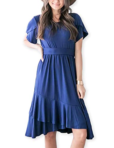 (AOOKSMERY Women Casual Brief Dresses Flutter Sleeve Ruffle Midi Dress with Belt Sapphire)