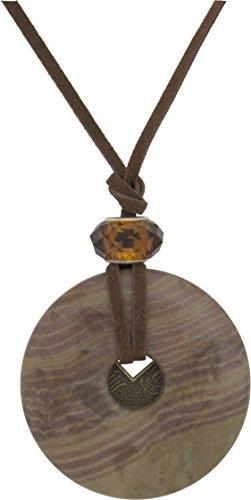 Unisex Pendant, Jasper Gemstone Donut 45mm Pendant + Faux Leather Cord + FREE GIFT BAG (45mm Donut Pendant)