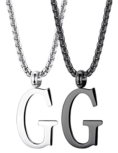 Thunaraz 2PCS Stainless Steel Initial Letter Necklace Minimalist Alphabet Name Jewelry for Men Women Personalized Charm Pendant Necklace G