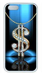 Bling Dollar Sign Iphone5 Iphone5S White Sides Rubber Shell TPU Case by Sakuraelieechyan