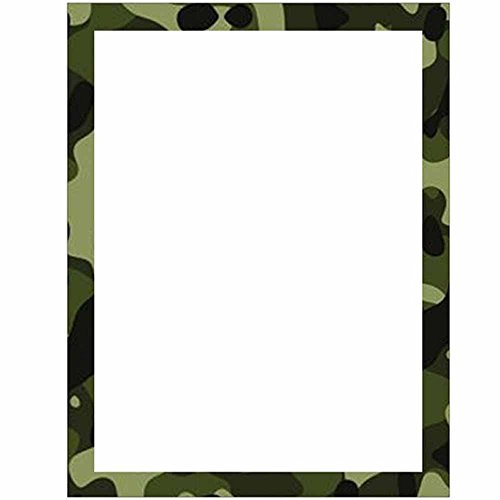 Camouflage Stationery Letter Paper - Military Theme Design - Gift - Business - Office - Party - School Supplies (White with Border)