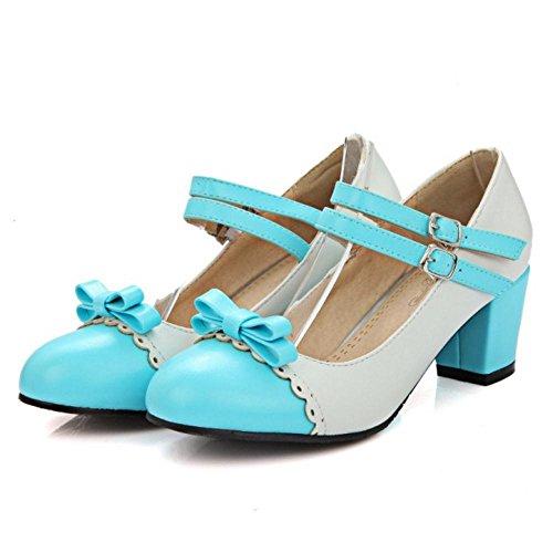 Coolcept Women Sweet Block Heels Court Shoes Strap Blue 7lrYB0F4BN