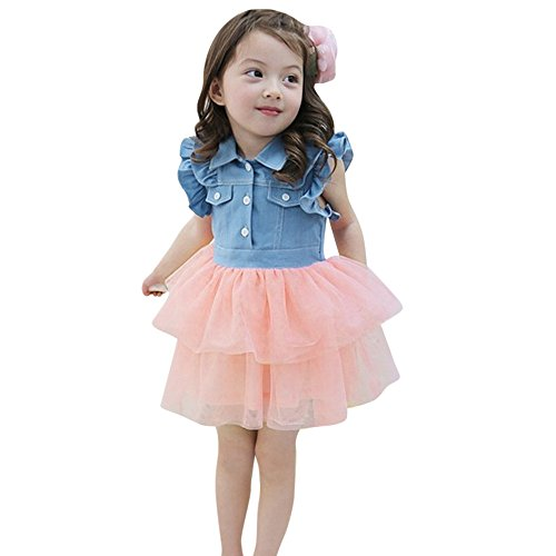 Birdfly Little Girls Western Denim Tulle Dress Outfit Kid Long & Short Sleeve Cowgirl Chambray Swing Dresses (Pink, (Cowgirl Dress Kids)