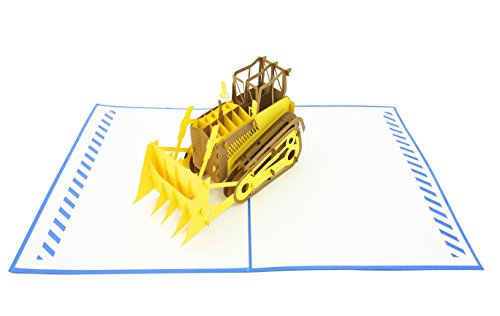 PopLife Bulldozer 3D Pop Up Greeting Card for All Occasions - Machinery Buffs, Construction Tools, Party Favor - Folds Flat, Perfect for Mailing - Birthday, Graduation, Retirement, Father's - Card Birthday Transformers