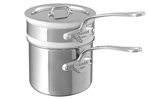 Mauviel M'Cook 5 Ply Stainless Steel 5204.14 1.6 Quart Bain Marie with Lid, Cast Stainless Steel Handle by Mauviel Bain Marie Insert