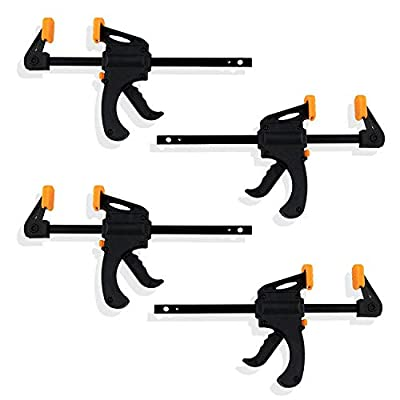Industrial Tools 4-Piece Speed Bar Quick Clamp Pistol Grip Ratchet Action - Great for Glue Projects Multiple Pack Sizes