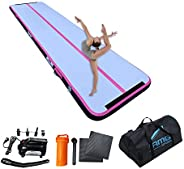AMGSPORT Air Track 10ft 13ft 16ft 20ft Inflatable Gymnastics Tumbling Mat Air Floor Mat with Electric Air Pump