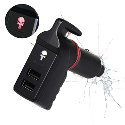 The Punisher Stinger USB Car Charger Emergency Escape Tool, Life-Saving Rescue Device EDC, Spring Loaded Car Window Breaker, Seat Belt Cutter, Dual USB Ports Max 2.4A (Special Design Red Punisher)