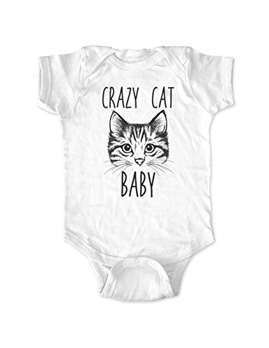 Crazy Cat Baby - Funny cat Meow Baby Bodysuit (White, Newborn Bodysuit)