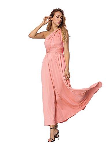 Maxi Vestido Convertible de de Alta Vestidos SELUXU Forma Largo Abrigo de Mujeres Infinito Formal Rosa Vestido Multi Transformador Las Dama Cintura Honor TwqxfR