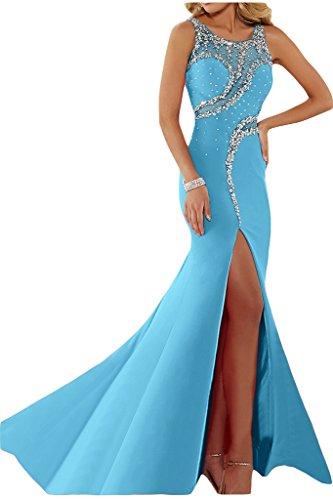 Ivydressing Vestido de fiesta para mujer, abertura, cuello redondo, pedrería azul claro